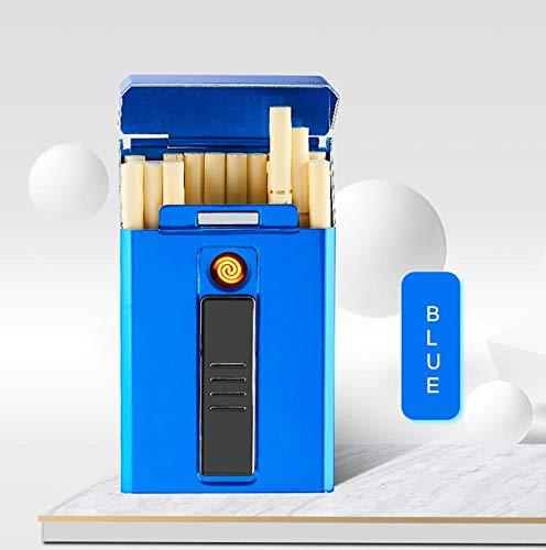 Metall Zigarettenetui Box mit elektronischem Feuerzeug USB Portable Plasma Tungsten Feuerzeug wasserdichte Halterung 20er Slim Zigaretten, Blau