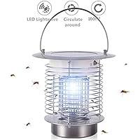 XCT Mosquito Matar lámpara Solar, jardín, terraza al Aire Libre, Camping insecticida Mosquitos Matar lámpara de Mano lámpara de Agente Anti-Mosquitos Impermeable,Portable Silver