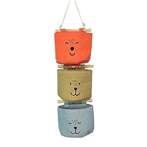 Inwagui Linen Cotton Sac de Rangement Suspendu avec 3 Poches Sac Muraux Organisateur Wall Hanging Storage Organizer-Type