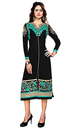 Khushali Presents Embroidered Georgette Stitched Kurti(Black)