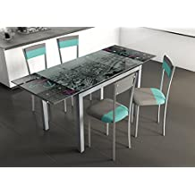 Mesa comedor extensible cristal for Mesas de comedor amazon