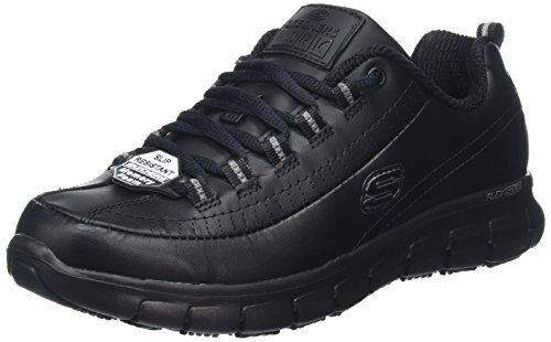 Skechers Women Sure Track-TRICKEL Work Shoes, Black (Black Leather Blk), 8 UK (41 EU)