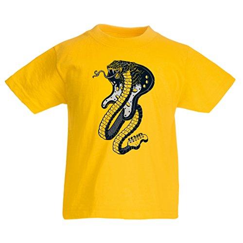 lepni.me T-Shirt pour Fille/garçon Serpent électrique Cobra, Amateur de Rock and Roll (12-13 Years Jaune Multicolore)