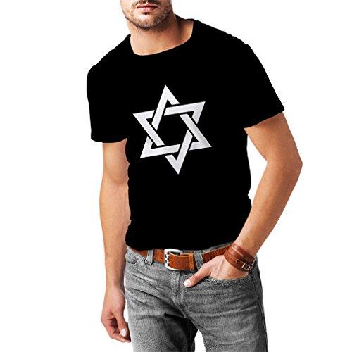 N4124 T-Shirt Davidstern Israel Izrael Jerusalem Judentum S-XXL Vielen Farben (M, Schwarz T-shirt/Weiß Bild)