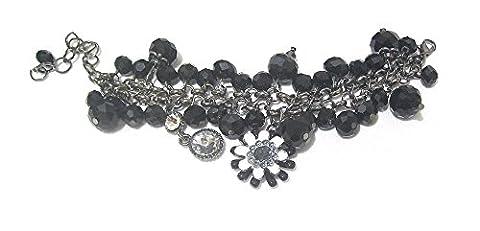 Schwarz Perlen Kristall mit Bridesmaid Ball Kleid Party Blumen Armband Armreif Geschenk Kostüm (Bilder Von Moulin Rouge Kostüme)