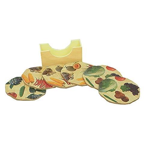 kuwer Industries Bambus Untersetzer Wärme Pad in Oval Form Fruit Design, 9,5* 9,5cm, 6Stück Set–ki3422