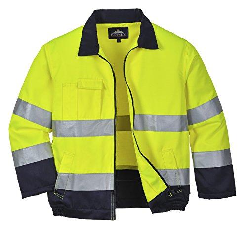 Herren Weiße Jacke Wasserdichte (Portwest TX70Lyon Hohe Sichtbarkeit Jacke, Weiß, Größe Small)