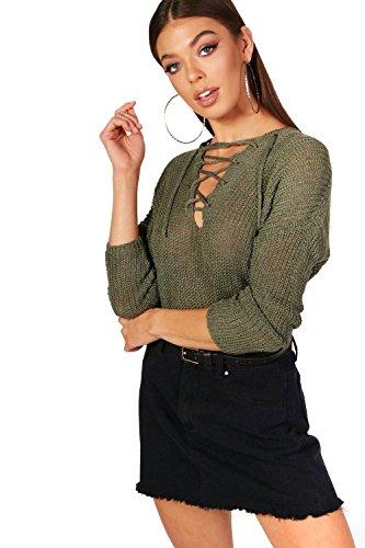 Kaki Femmes Karina Lace Up Loose Knit Jumper Kaki