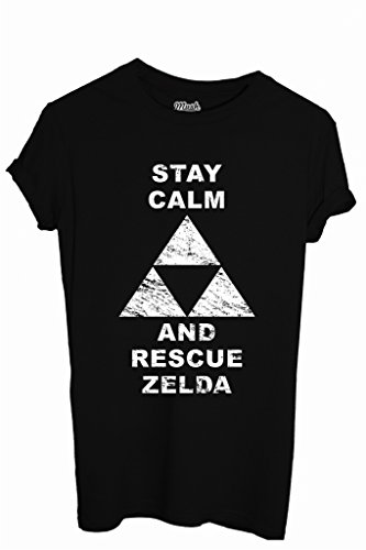 T-Shirt STAY CALM AND RESCUE ZELDA - GAMES by iMage Dress Your Style - Donna-S-NERA