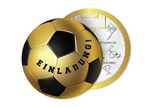 Friendly Fox Fußball Einladung rund - 12er Pack Einladungskarten Fussball zum Kindergeburtstag Junge Mädchen- Geburtstagseinladungen - ideal für kleine Fußball-Fans (Geburtstagsparty Für Jungen)