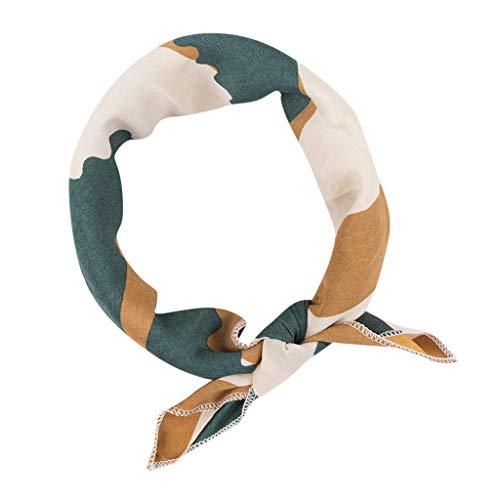 Halstuch für charmante Damen Bunte Kleine Quadratische Kopf Vintage Elegante Designs Silk Satin Summer Daily Wear(A,free)