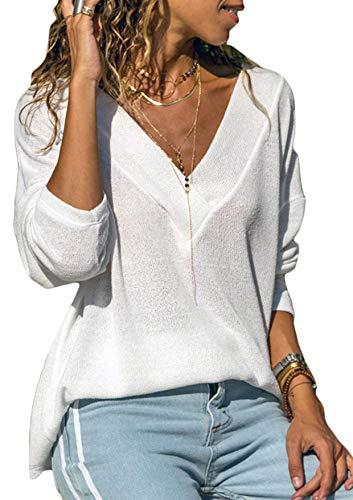 Damen Sweatshirt Langarmshirt V-...