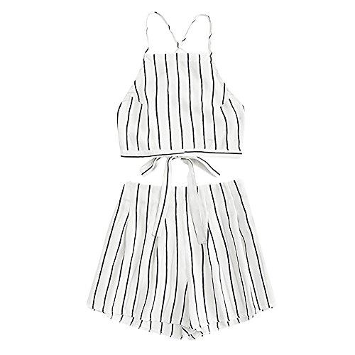 LUCKYCAT Best Deals On Prime Day Shorts und Top Sets Damen Sommer Strand Zweiteiler Schulterfrei Streifen Printed Beachwear Chiffon Crop Tops