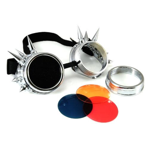 4sold (TM) Cyber Goggles Black with Cyber Spikes Steam Punk Rave Goth like Sunglasses Includes FREE set Lense Design Inserts and 3 lenses black. clear and brown