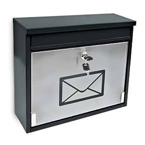 Relaxdays Boîte aux lettres design avec fenêtre en verre, métal noir