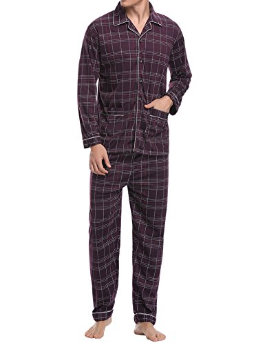 Aibrou Herren Baumwolle Pyjama Set, Winter Warm Langarm Zweiteiliger Schlafanzug Karierte Nachtwäsche Rot S (Rot Kariertes Pyjama)