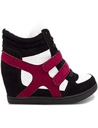 Baskets Compensées Femmes Montantes – Chaussure Sneakers Bi-Matière Urban  Talon Haut - Tennis Casuel en Daim Scratch Lacet–PU… 2338f6b550cb