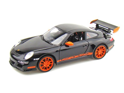 2007 Porsche GT3 RS [Welly 18015S], Schwarz mit orangenen Streifen, 1:18 Die Cast (Welly Streifen)