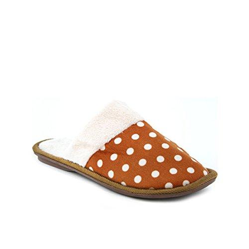 Cendriyon, Chaussons Fourrées à Pois Caramel Chaussures Femme Caramel
