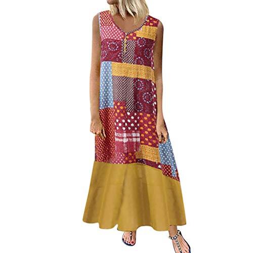 Tohole Damen Strandkleider Türkischer Stil Boho Lose Tunika Lange Sommerkleider Shirt Strandhemd Kleid Urlaub Vintage unregelmäßiges Kleid(Gelb-N,5XL) -