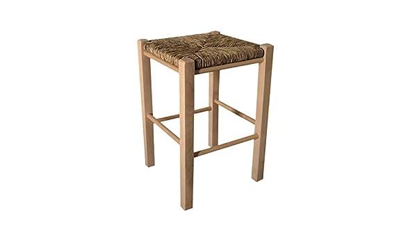 Okaffarefatto maddaloni sgabello in legno con seduta in paglia