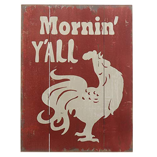 Barnyard Designs Wandaufkleber 'yall' Rooster Retro Vintage Schild aus Holz Plaque Bar Country Home Decor 40 x 29,8 cm Retro Rooster