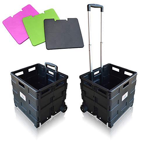 MP Essentials Robuster falt- und tragbarer Transportwagen fürs Shopping und Camping, 40 kg Maximalgewicht Black with Lid (Räder Für Golf Carts)