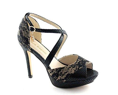 LAURA BIAGIOTTI 938 nero pizzo scarpe donna sandali tacco alto plateaux 37