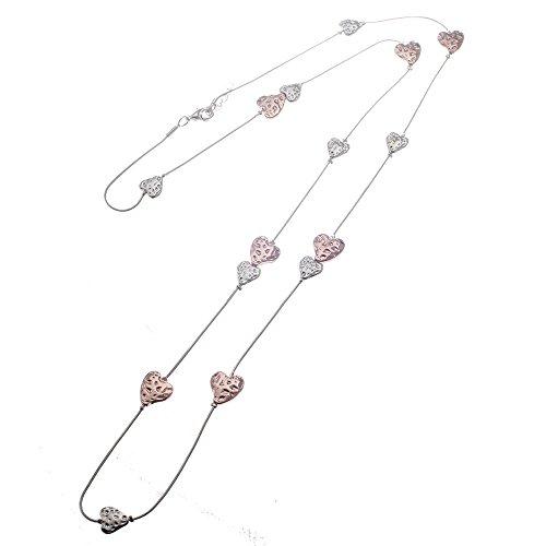 Lange Halskette mit Cascading Geschlagene Herzen in rose Gold und Silber Single und Double Herzen - Geschlagen Herz