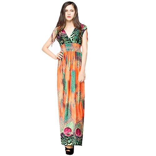 Hrph Summer Vintage Femme V-Neck Robe de Plage Sexy Bohême Imprimé Floral Long Robe de Soirée Cocktail Party Sans Manches Haute Taille M-6XL Orange