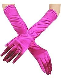 Minshao Womens Satin Long Gloves Opera Wedding Bridal Evening Party Prom Costume Gloves