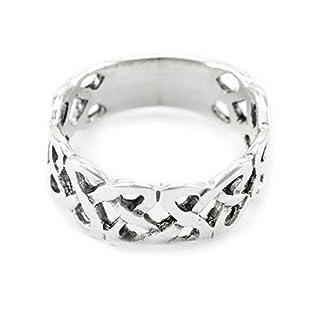 WINDALF Freundschaftsring ANTARIS h: 0.9 cm Breiter Keltenring Keltischer Knoten 925 Sterlingsilber (Silber, 58 (18.5))