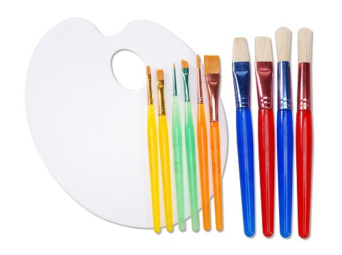 Darice 11-Piece Painting Set with Brush Assortment and Palette by Darice Bamboo Appetizer Tray