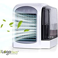 iLogoTech Amélioré 3 in 1 Climatiseurs Portables USB, Refroidisseur d'air, Mini Climatiseur, Air Cooler, Humidificateur, Purificateur pour Maison, Bureau, Chambre à Coucher, Extérieur (3 Vitesse)