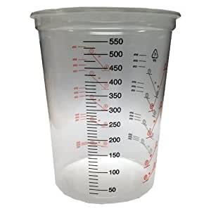 600ml Clear Plastic Mixing Cup - 50pk - No Lid