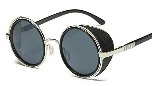 Pomo-Z Fashion Round Vintage Sunglasses Steampunk ...
