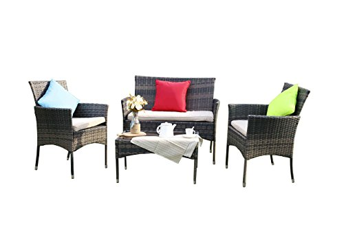 Outdoor Patio-möbel-set (yakoe Eton Sortiment Outdoor Rattan Garten Möbel Sofa-Set, braun, 106 x 59 x 48 cm)