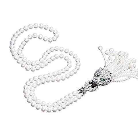 Shell Perle Pullover Halskette mit Quasten Charm Anhänger Zirkonia Pavé (Halskette Weiß Shell Halskette)