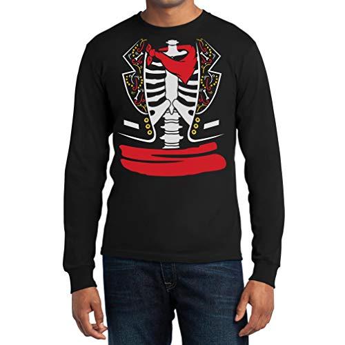 Shirtgeil Halloween Skelett Erwachsene Kostüm Langarm T-Shirt Large -