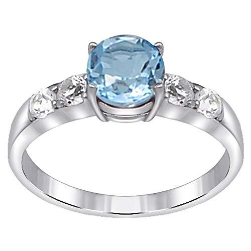 Orchid Jewelry Unisex Damen - Sterling-Silber 925 Sterling-Silber 925 Rund White Blue