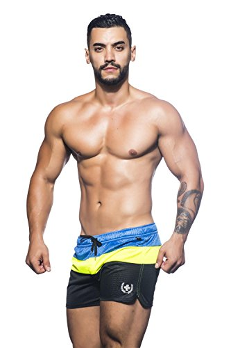 Andrew Christian Herren Paradise Swim Shorts Black/Yellow/Royal