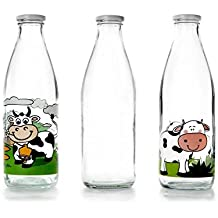 IBILI 743109 - Botella de Vidrio Transparente para la Leche, 900 ml, ...