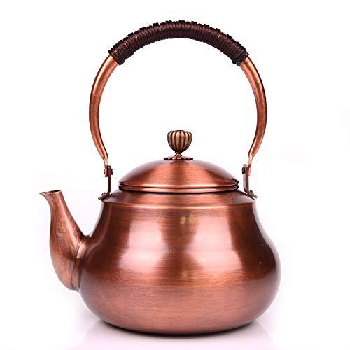 1500ML Haushalt Hohe Kapazität Reines Kupfer Teekannen Reine Handarbeiten Antiquität Tee-Sets, Kreativ japanisch Gekochter Tee-Wasserkocher zum Gasherd Herd und Lose Tee oder Teebeutel -