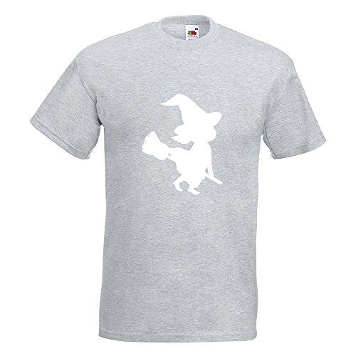 KIWISTAR - Hexe auf Besen Halloween Grusel Horror T-Shirt in 15 verschiedenen Farben - Herren Funshirt bedruckt Design Sprüche Spruch Motive Oberteil Baumwolle Print Größe S M L XL XXL Graumeliert