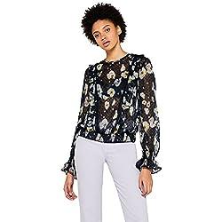 FIND Blusa de Flores Transparente Mujer, Multicolor (Multicoloured), 40 (Talla del fabricante: Medium)