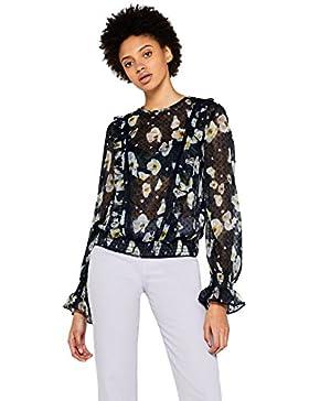 FIND Blusa de Flores Transparente Mujer