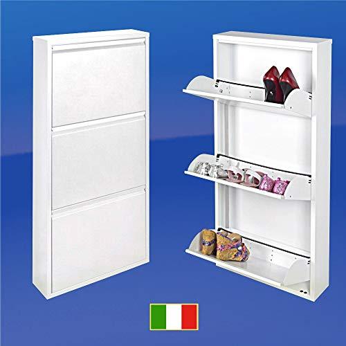 ZAPATERO ¡Garantía de 15 años! Ahorra espacio, tres gavetas, Blanco, Gabinete Organizador Italiano...