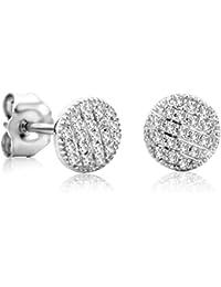 Orovi Ohrstecker Ohrringe Set ,Damen Weißgold Ohrstecker mit Diamant 9Karat (375) Brillianten 0.11crt