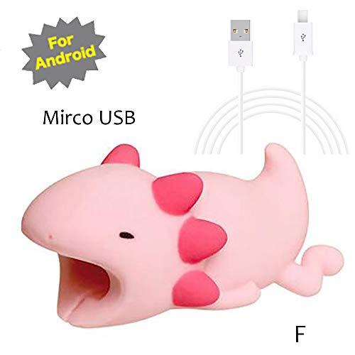 TAOtTAO Mrico USB & Type C Datenzeilenkombination Datenkabel enthalten Kabel-Schnur-Schutz-Schutz-Unterstützung, prevently kreatives nettes Tierkabel-Biss für iPhone Kabel-Schnur-Telefon-Zusatz schützt (F, Mrico USB(Weiß))