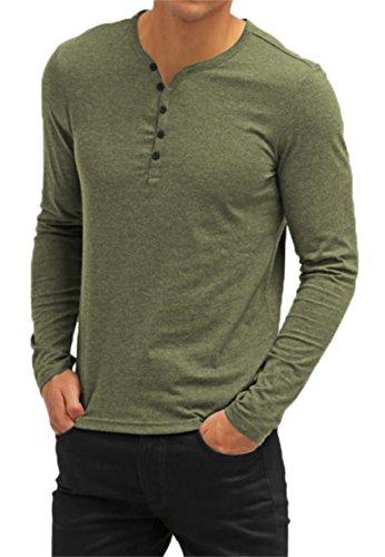 AIYINO Herren Casual T-Shirt mit V-Ausschnitt Kontrast 100% Baumwolle Cardigan (XX-Large, Langarm-Armee-Grün) (Arme Erreichen)